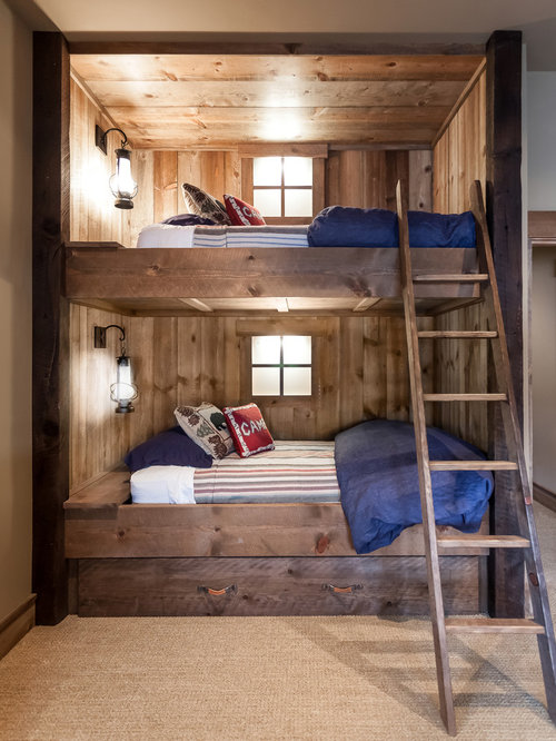 Rustic bunk bed home design ideas pictures remodel and decor for Cabin beds for small rooms