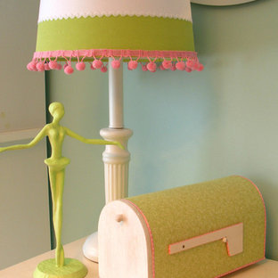 Elegant girl kids' room photo in Other with blue walls