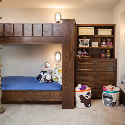 Mountain style gender-neutral carpeted kids' room photo in Houston with white walls