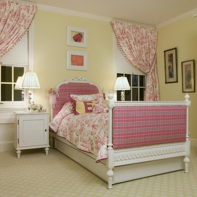 Elegant girl carpeted kids' room photo in Newark with yellow walls
