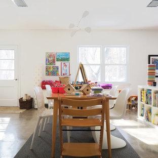 ミネアポリスのモダンスタイルのおしゃれな子供部屋 (白い壁、コンクリートの床、児童向け) の写真