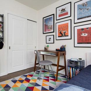Kids' room - eclectic boy dark wood floor and brown floor kids' room idea in Los Angeles with white walls