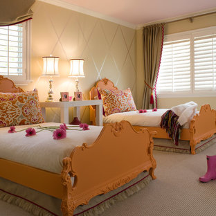 Example of a classic girl carpeted kids' room design in San Francisco with beige walls