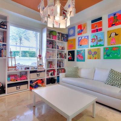Transitional gender-neutral beige floor kids' room photo in Miami with beige walls