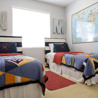 Inspiration for a timeless boy carpeted kids' room remodel in Salt Lake City with gray walls