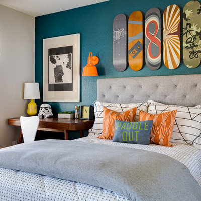 Kids' room - transitional boy kids' room idea in Phoenix with multicolored walls
