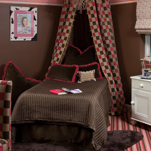 Inspiration for an eclectic girl carpeted and multicolored floor kids' room remodel in DC Metro with multicolored walls