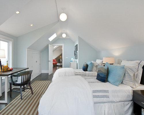 Traditional gender neutral dark wood floor kids  room idea in San Francisco  with blue. Kids Bedroom Paint Colors   Houzz