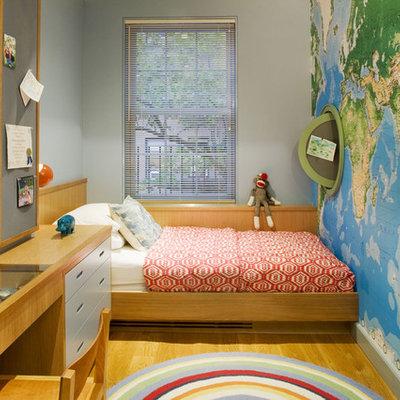 Kids' room - contemporary boy light wood floor kids' room idea in New York with gray walls