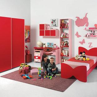 Exempel på ett modernt flickrum kombinerat med sovrum