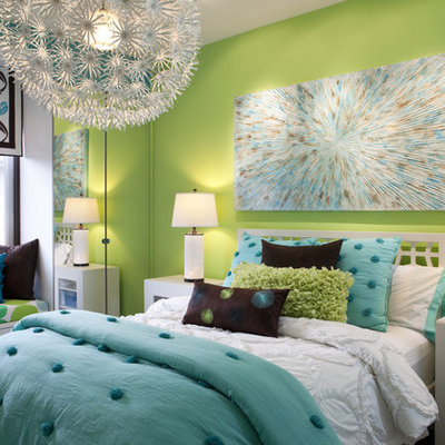 Kids' room - contemporary girl kids' room idea in San Diego with green walls
