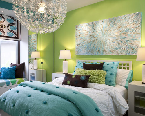 Kids Room Contemporary Idea In San Go With Green Walls