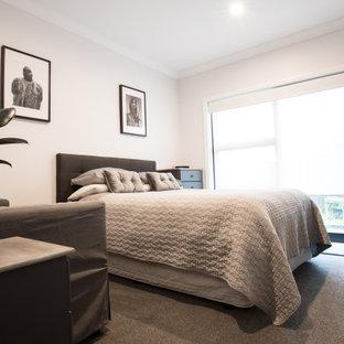 Idee per una cameretta per bambini di medie dimensioni con pareti bianche, moquette, pavimento grigio e soffitto a volta