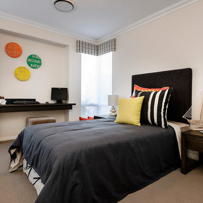 Mid-sized trendy gender-neutral carpeted kids' room photo in Perth with white walls