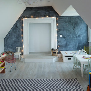 Mid-sized transitional gender-neutral light wood floor kids' room photo in Indianapolis with white walls