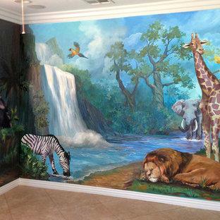 Foto på ett litet funkis könsneutralt barnrum kombinerat med sovrum och för 4-10-åringar, med blå väggar, klinkergolv i terrakotta och orange golv