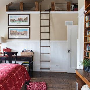 Kids' room - traditional dark wood floor and brown floor kids' room idea in Chicago with beige walls