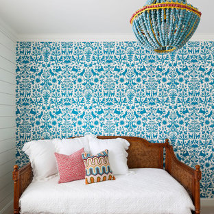 Inspiration for a transitional girl carpeted and beige floor kids' room remodel in Nashville with blue walls