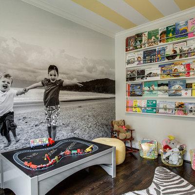 Small eclectic gender-neutral dark wood floor kids' room photo in Dallas with beige walls