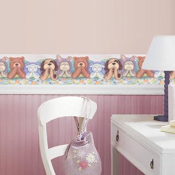 Kids Teddy Bear Baby Wallpaper Border for Cottage Kitchen Bathroom Living Room