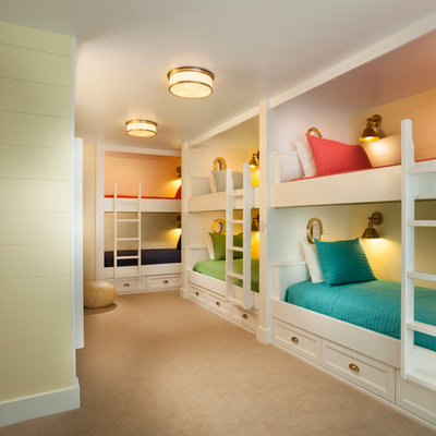 Kids' room - large traditional gender-neutral carpeted and beige floor kids' room idea in Salt Lake City with yellow walls