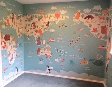 Kids World Map Wallpaper Mural