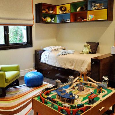 Kids' room - eclectic boy kids' room idea in Los Angeles with beige walls