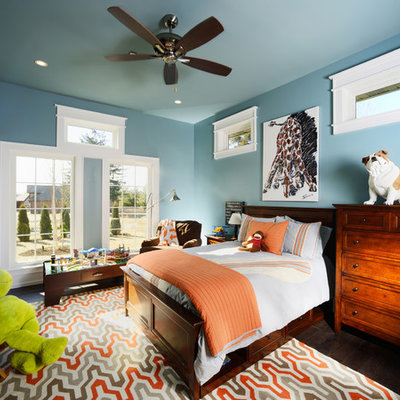 Inspiration for a mid-sized timeless boy medium tone wood floor kids' room remodel in Other with blue walls