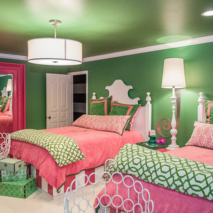 На фото: большая детская в классическом стиле с спальным местом, зелеными стенами и мраморным полом для подростка, девочки с