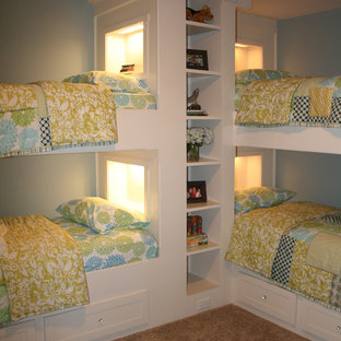 Elegant girl carpeted kids' room photo in Raleigh with blue walls
