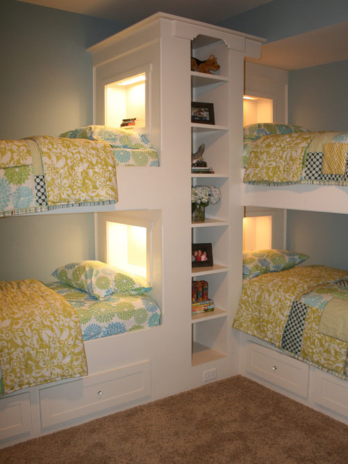 Elegant girl carpeted kids  bedroom photo in Raleigh with blue walls. Kids Room With Two Beds   Houzz