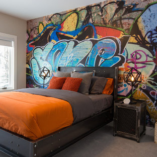 Inspiration for a large industrial kids' room for boys in Calgary with carpet, grey floor and multi-coloured walls.