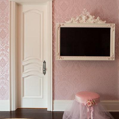 Kids' bedroom - transitional girl dark wood floor kids' bedroom idea in Chicago with pink walls