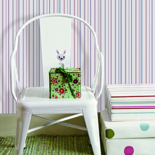 Example of a cottage chic kids' room design in Wilmington with red walls