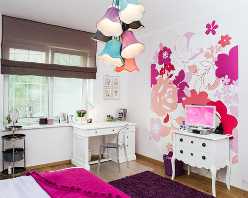 Light color walls houzz inspiration for a timeless girl medium tone wood floor kids room remodel in other with aloadofball Choice Image