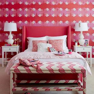 Неиссякаемый источник вдохновения для домашнего уюта: детская в стиле современная классика с спальным местом, разноцветными стенами, ковровым покрытием и бежевым полом для ребенка от 4 до 10 лет, девочки