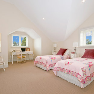 Inspiration for a transitional kids' bedroom for girls in Sydney with beige walls, carpet and beige floor.