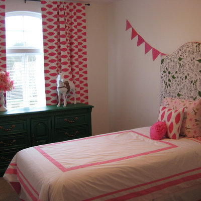 Kids' room - eclectic girl carpeted kids' room idea in Portland with white walls