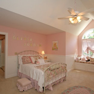 Inspiration for a mid-sized shabby-chic style girl carpeted and beige floor kids' bedroom remodel in San Francisco with pink walls