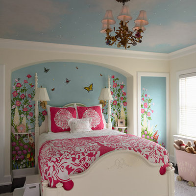 Inspiration for a mid-sized timeless girl kids' room remodel in Minneapolis with multicolored walls