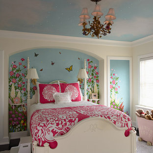 Inspiration for a mid-sized timeless girl kids' bedroom remodel in Minneapolis with multicolored walls