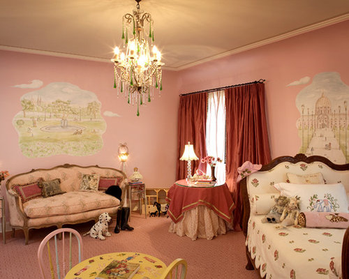 inspiration for a mid sized contemporary girl carpeted and pink floor kids room remodel
