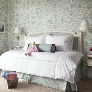 Modelo de dormitorio infantil de 4 a 10 años, clásico, grande, con paredes multicolor y moqueta