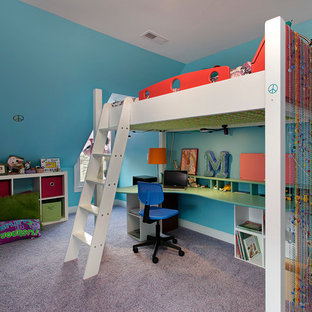 Inspiration for a contemporary girl carpeted kids' room remodel in Chicago with blue walls