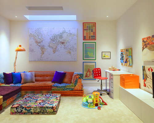 Contemporary Gender Neutral Kids Room Idea In London With Carpet And White Walls