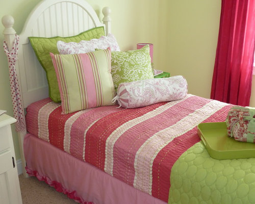 Example of a country kids' room design in Manchester with green walls