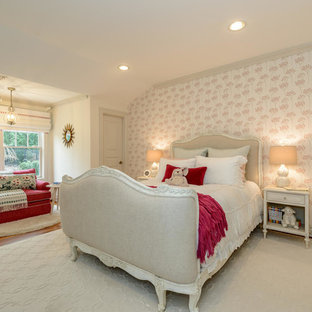 Inspiration for a mid-sized shabby-chic style kids' bedroom for kids 4-10 years old and girls in New York with multi-coloured walls, medium hardwood floors and brown floor.