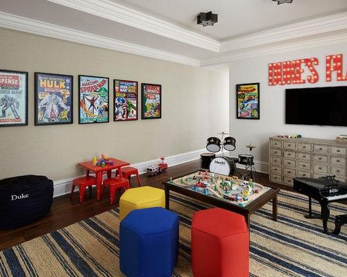 Elegant Boy Dark Wood Floor Playroom Photo In Los Angeles With Beige Walls