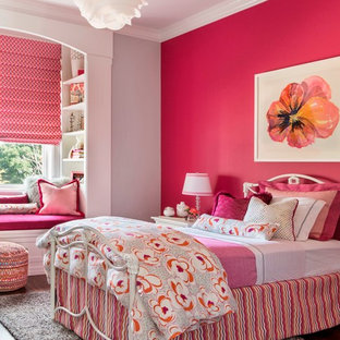 Inspiration for a mid-sized transitional kids' room for girls in San Francisco with pink walls.