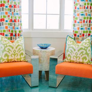 Geräumiges, Neutrales Maritimes Jugendzimmer mit Spielecke, weißer Wandfarbe, Betonboden und türkisem Boden in Atlanta